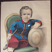 Advertising Hand Colored Currier & Ives Print Little Manly