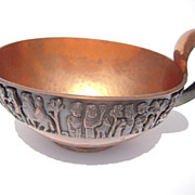 Vintage Margit Tevan Hand Hammered Copper Bowl with Book