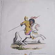 Early 1800s Color Aquatint Alexander 1st King of Scotland