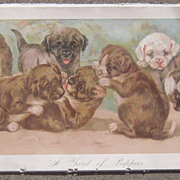 Victorian Era Yardlong Print of Puppies