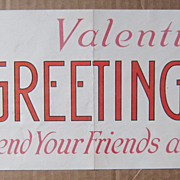 c1920 Valentine Card Advertising Sign