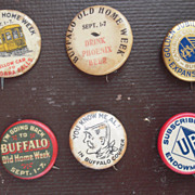 Lot of 6 Early Buffalo NY Pinback Buttons