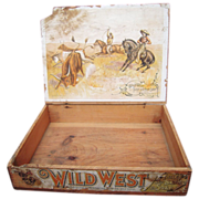 Victorian era Wood Advertising Display Box Wild West Soap
