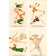 Set of 4 1920s Risque French Hand Colored Cards #1