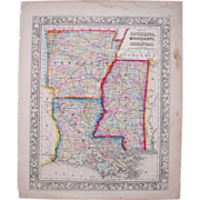 1860 Hand Colored Map Arkansas, Louisiana, Mississippi