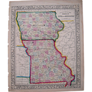 1861 Hand Colored Map Iowa, Missouri