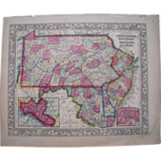 1860 Hand Colored Map Pennsylvania, Maryland, Delaware, NJ