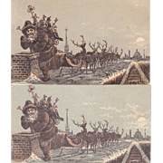 Victorian Advertising Trade Card w/Santa and Reindeer
