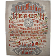 """SOLD Victorian Era Religious """"Sampler"""" Embroidery on Perforated Paper"""