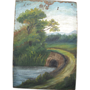 SOLD Early 1900s Primitive Landscape Paintings