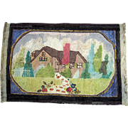 c1920 Wool Hooked Rug w/House 3' x 5'
