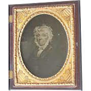 1/4 Plate Ambrotype of Painting of Older Woman in Union Case