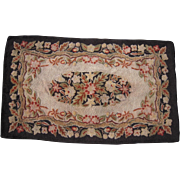 c1920s/1930s Floral Hooked Rug 3' x 5'
