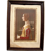 c1920 Framed Hand Colored Sepia Photo of Medieval Woman