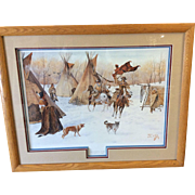 SUCESSFUL RAID Art Lithograph Native American Signed Numbered, Professionally Matted and Frame