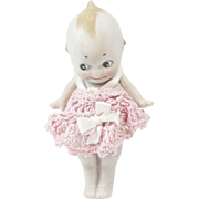 1920s German Bisque Rose O'Neill Straight Leg Kewpie with Crocheted Dress 4 1/2""