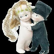 "1910s Rose O'Neill Kewpie Husband and Wife Huggers Cake Topper 3 3/4"""