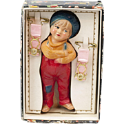 1920s American Viscaloid Celluloid Jackie Coogan Rattle Gift Set