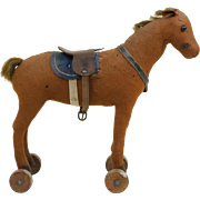 SOLD 1920s German Steiff Felt Horse on Wheels with Button In Ear 9""