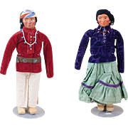 1930s Hopi Indian Man and Woman Dolls with Beaded Jewelry and Concho Belts