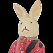 "1920s Celluloid Little Drummer Boy Bunny Rabbit 4 1/4"""