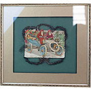 Antique Germas Christmas Framed Die-Cut with Tinsel Two Santas Driving a Car
