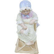 """1910s Antique German Heubach Bisque Baby in a High Chair Figurine 7 1/2"""""""
