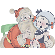 1946 Myrtle and Santa Claus Stanley Dayton Cartoon Stand Up Christmas Card 9""