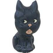1920s German Papier Maché Halloween Black Cat Candy Container with Large Nodding Head 6 1/2""