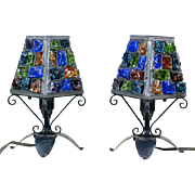 """1950s Pair of Mid Century Peter Marsh Leaded Rock Glass Table Lamps 11"""""""