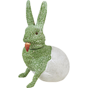 """1910s German Papier Maché Candy Container Green Easter Bunny Rabbit Hatching from Egg 8"""""""