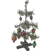 """1930s German Small Christmas Tree with Glass Ornaments 6 3/4"""""""
