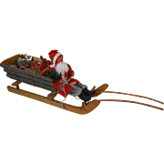 """Early Large German Santa with Adirondack Sleigh Full of Toys 16-1/2"""""""