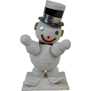 """1940's Spun Cotton Snowman On Skis with Top Hat & Ear Muffs 7-1/2"""""""