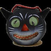 Small 1940's Halloween Grinning Black Cat Paper Jack-O-Lantern Western Germany