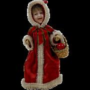 "Victorian Heubach Laughing Christmas Santa Girl Doll with Basket Mechanical Walking 7-1/2"""