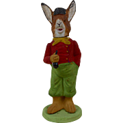 """1910 German Easter Rabbit Holding A Pipe Paper Mache Candy Container 6-1/4"""""""