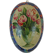 Victorian Easter Egg Candy Container with Tulips & Fish Swimming in Coral Dresden Trim Germany