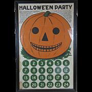1907 Halloween Party Game Pin the Eye on the Pumpkin Jack-O-Lantern Uncut Saalfield