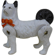 19-teens Small Hertwig Jointed Bisque Dog Figurine White with Black Tail Germany 2""