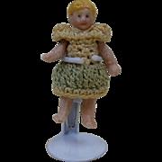 "1900's Carl Horn German Bisque Miniature Doll in Green & Cream Crochet Dress 1.25"""
