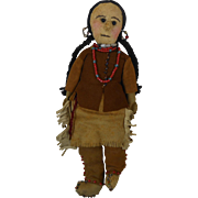 1900's Native American Indian Squaw Girl Doll with Yarn Hair & Deer Skin Leather Clothes