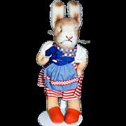 1960s German Kersa Dress Wool Plush & Felt Grumpy Bunny Rabbit MINT