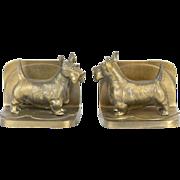 1920s Art Deco Bronzed Metal Frankart Scottie Dog Bookends
