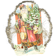 Early 1900s Santa Claus Paper Rag Ornament with Tinsel