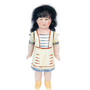1920s All Bisque Doll in Native American Outfit and Original Wig