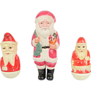 Lot of 3 Vintage Celluloid American Viscaloid & Japanese Santa Figurines