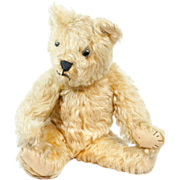 SOLD Darling 1940s British or American Blond Mohair Jointed Teddy Bear