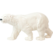 "1940s German Porcelain Polar Bear Figurine 13"" Long"