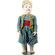 Antique Papier Mache Zouave Regimental Soldier Doll Mid 1800s